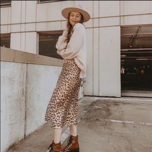 FREE PEOPLE Normani Bias Midi Skirt Brown Leopard